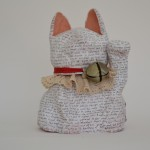Tale of the Dream Cat 2014 clay, acrylic paint, ink, cotton, metal bell and tag 22x 18x 16cm