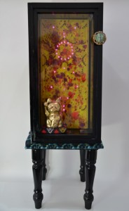Fascination 2014 gold leaf on ceramic, oil on wood, acrylic on wood, glass, metal, silk, polyester filling, led lights 73 x 25 x 26cm