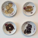 Appetiser, collection of painted plates, 2016, Oil on repurposed plate, 15 - 17cm diameter