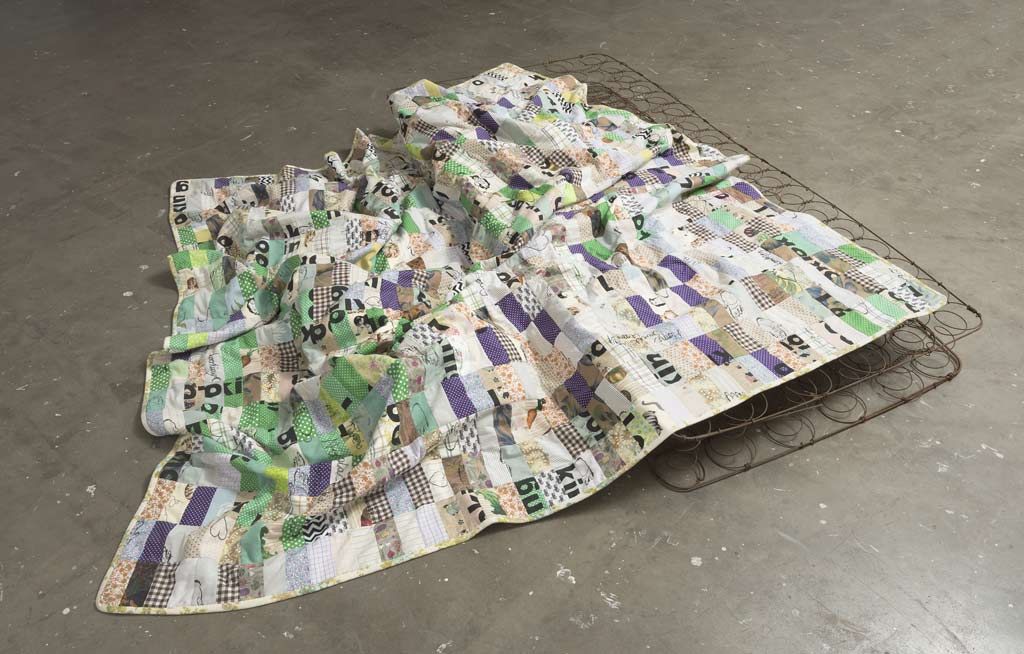Landscape divided, 2018, screen printed reclaimed fabric, cotton thread, bed sheet, cotton wadding, 200 x 200cm, photo Brenton McGeachie