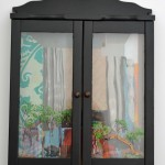 Bogged down in the Boggabri, 2014, oil on board and glass, wooden housing with glass doors, 53 x 39cm (closed)