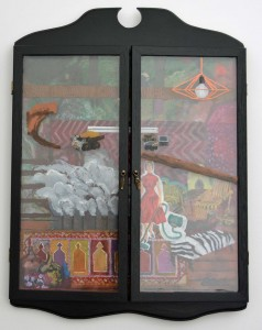 State of emergency, 2014, oil on board and glass, wooden housing with glass doors, 57 x 42cm (closed)