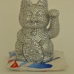 Glamour puss 2014 acrylic paint, rhinestones on plastic, silk, polyester filling 17x 15x 13cm