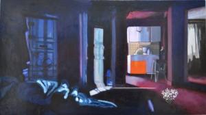 Bleu, 2016, Oil on board, 40 x 78cm