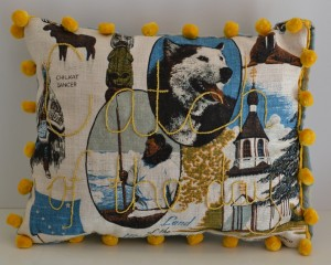 Catch of the day (front), 2016, repurposed tea toel, embroidery, cloth, trims, 27 x 36 x 7cm