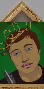 Le passion de Jeanne d'Arc #2, 2016, Gouache on board, 38 x 18cm
