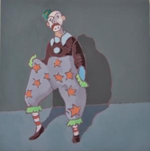Le clown, 2016, Gouache on board, 18 x 18cm