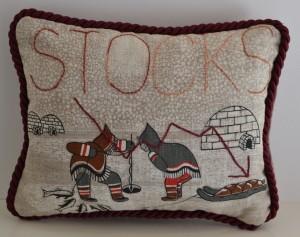 Stocks (front), 2016, repurposed tea toel, embroidery, cloth, trims, 27 x 36 x 7cm