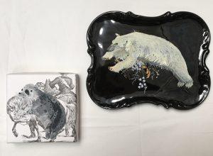 Ursus maritimus(too little ice) & Pusa hispida, 2017, 19x4, 13x13, gouache on repurposed plate and wallpaper