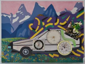 Great Scott, oil on wood, 2015. The Delorean comes Back to the Future having made some unexpected changes