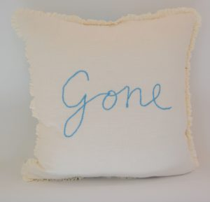 Going, going, gone, (back), 2018, 50 x 50 x 8, linen and reclaimed teatowel, cotton & wool embroidery with feather filling